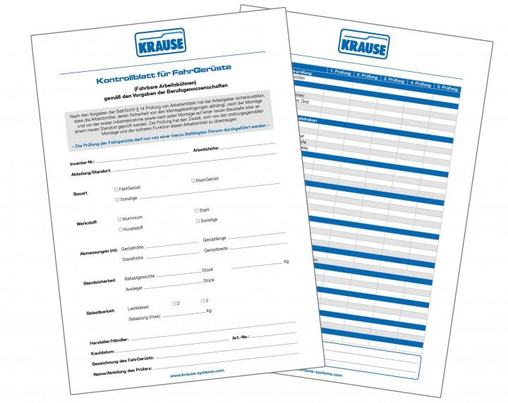 Prüfordner mit 25 Kontrollblättern für FahrGerüste