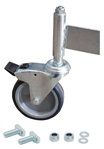 Fahrrolle gebremst 125 mm Durchmesser für PodestLeiter 5-6 Stufen