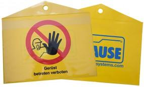 Dokumententasche für Gerüstkennzeichnung und Aufbau- und Verwendungsanleitung
