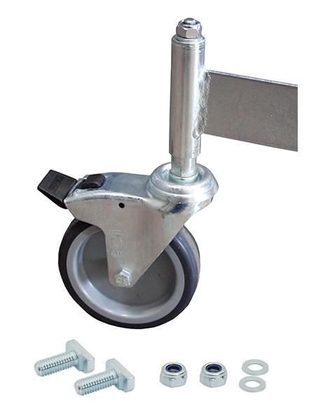 Fahrrolle gebremst 125 mm Durchmesser für PodestLeiter 7 Stufen