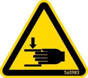 HWS Warnschild Handverletzung 50 mm